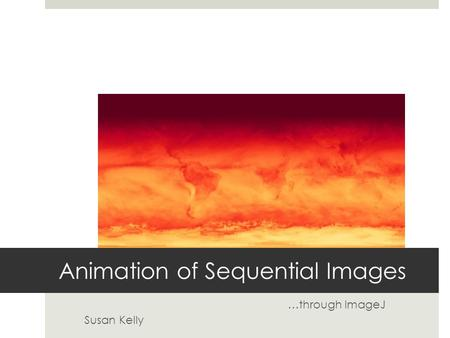 Animation of Sequential Images …through ImageJ Susan Kelly.