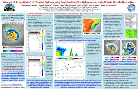 Evidence of Strong Updrafts in Tropical Cyclones using Combined Satellite, Lightning, and High-Altitude Aircraft Observations Christopher S. Velden*, Sarah.