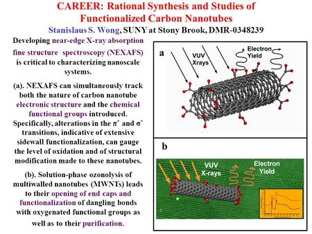 CAREER: Rational Synthesis and Studies of Functionalized Carbon Nanotubes Stanislaus S. Wong, SUNY at Stony Brook, DMR-0348239 Developing near-edge X-ray.