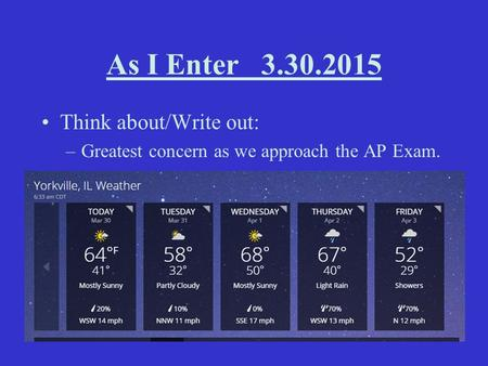 As I Enter 3.30.2015 Think about/Write out: –Greatest concern as we approach the AP Exam. Agenda: –1. Spring Break Recap! –2. Thoughts on the AP Practice.