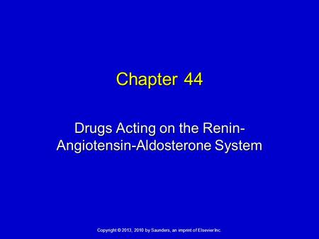 Drugs Acting on the Renin-Angiotensin-Aldosterone System