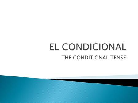 THE CONDITIONAL TENSE.  Just as the future tense in Spanish is used to tell what will happen, the conditional tense expresses what someone would do or.