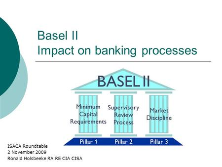 Basel II Impact on banking processes ISACA Roundtable 2 November 2009 Ronald Holsbeeke RA RE CIA CISA.