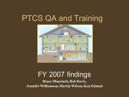 PTCS QA and Training FY 2007 findings Bruce Manclark, Bob Davis, Jennifer Williamson, Martín Wilson, Ken Eklund.