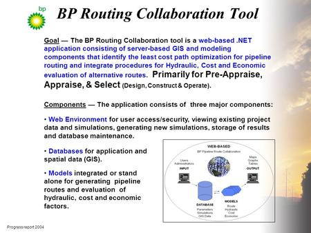 Goal — The BP Routing Collaboration tool is a web-based.NET application consisting of server-based GIS and modeling components that identify the least.
