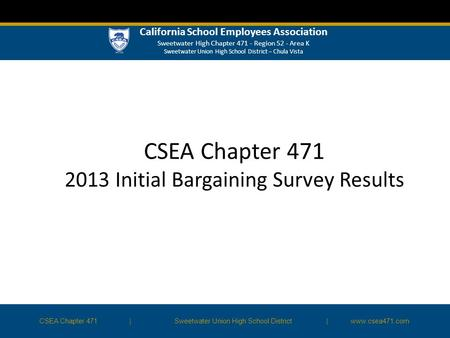 CSEA Chapter 471 2013 Initial Bargaining Survey Results CSEA Chapter 471|Sweetwater Union High School District | www.csea471.com California School Employees.