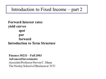 Introduction to Fixed Income – part 2