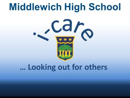 Middlewich High School … Looking out for others. Group Focus As a group we talked about what matters to us as young people. Out of all the options we.