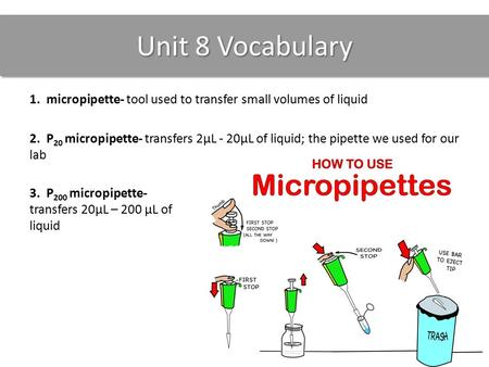 Unit 8 Vocabulary 1. micropipette- tool used to transfer small volumes of liquid 2. P 20 micropipette- transfers 2µL - 20µL of liquid; the pipette we used.