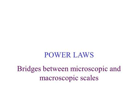 POWER LAWS Bridges between microscopic and macroscopic scales.