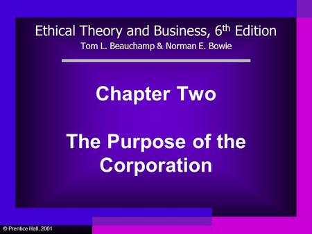 Chapter Two The Purpose of the Corporation