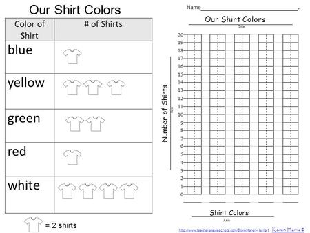 Color of Shirt # of Shirts blue yellow green red white Our Shirt Colors = 2 shirts Our Shirt Colors Shirt Colors Number of Shirts Name _______________________.
