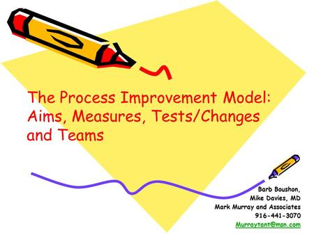 Barb Boushon, Mike Davies, MD Mark Murray and Associates 916-441-3070 The Process Improvement Model: Aims, Measures, Tests/Changes and.