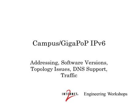 Engineering Workshops Campus/GigaPoP IPv6 Addressing, Software Versions, Topology Issues, DNS Support, Traffic.