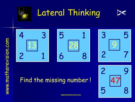 Www.mathsrevision.com Lateral Thinking www.mathsrevision.com 4531 2618 3 2 5 9 2 5 7 8 13 28 9 47 Find the missing number !