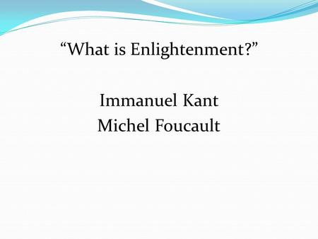 what is enlightenment foucault pdf