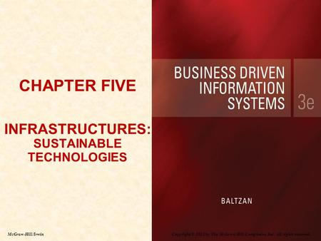 CHAPTER FIVE INFRASTRUCTURES: SUSTAINABLE TECHNOLOGIES