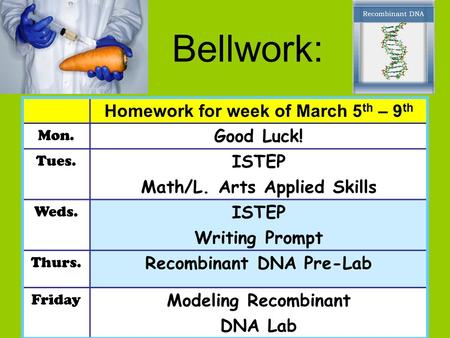 Bellwork: Homework for week of March 5 th – 9 th Mon. Good Luck! Tues. ISTEP Math/L. Arts Applied Skills Weds. ISTEP Writing Prompt Thurs. Recombinant.