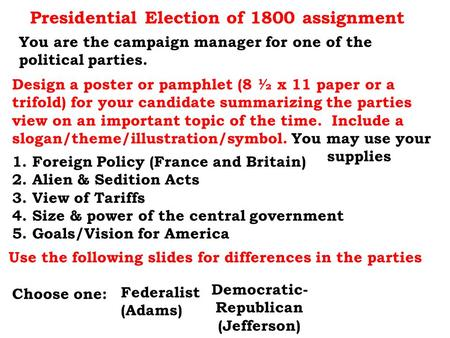 Presidential Election of 1800 assignment
