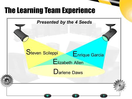 Presented by the 4 Seeds E nrique Garcia S teven Scileppi The Learning Team Experience D arlene Daws HOMEPAGE E lizabeth Allen.