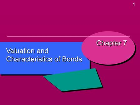 1 Valuation and Characteristics of Bonds Chapter 7.
