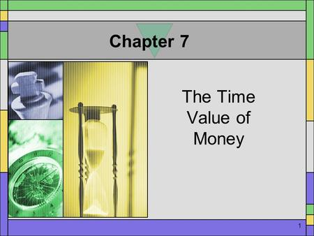 1 Chapter 7 The Time Value of Money. 2 Time Value A. Process of expressing 1. The present value of $1 invested now in future terms. (Compounding) Compounding.