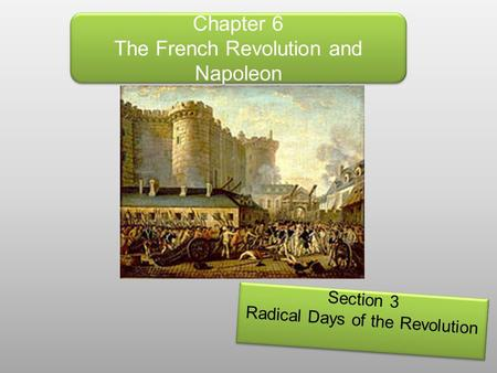 Chapter 6 The French Revolution and Napoleon