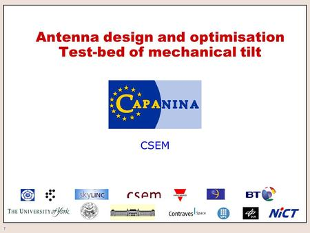 1 Antenna design and optimisation Test-bed of mechanical tilt CSEM.
