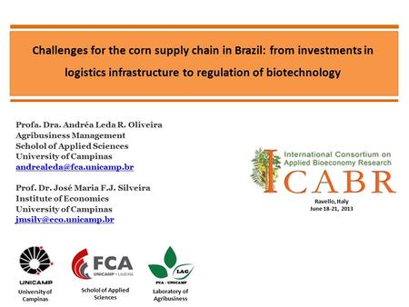 Challenges for the corn supply chain in Brazil: from investments in logistics infrastructure to regulation of biotechnology Profa. Dra. Andréa Leda R.