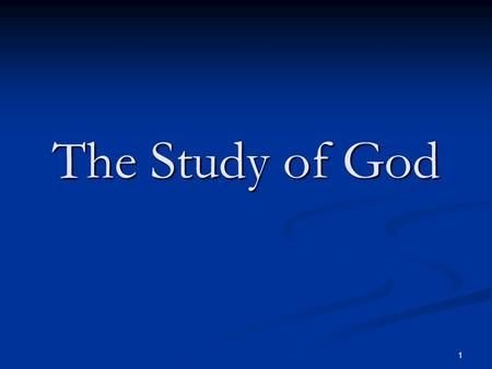 1 The Study of God. 2 The People Who Know Their God Knowing God by J I Packer Chapter 2.