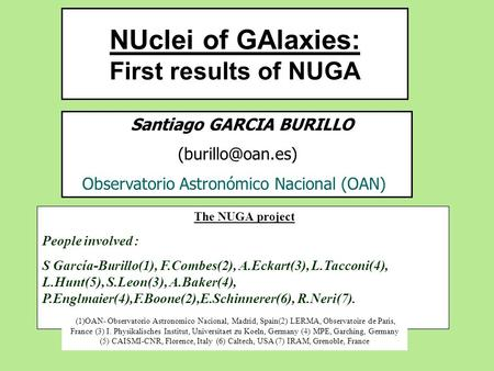 NUclei of GAlaxies: First results of NUGA Santiago GARCIA BURILLO Observatorio Astronómico Nacional (OAN) The NUGA project People involved.
