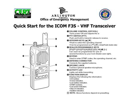Office of Emergency Management Quick Start for the ICOM F3S - VHF Transceiver.