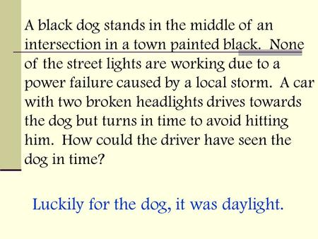 A black dog stands in the middle of an intersection in a town painted black. None of the street lights are working due to a power failure caused by a local.