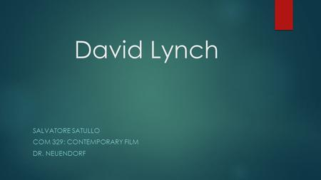 David Lynch SALVATORE SATULLO COM 329: CONTEMPORARY FILM DR. NEUENDORF.