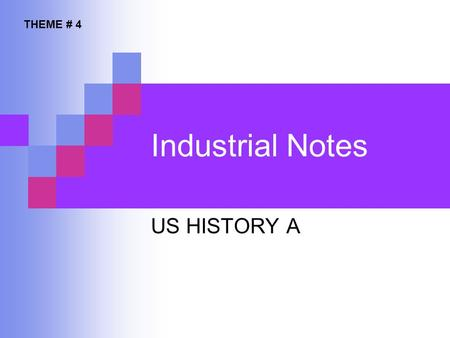 Industrial Notes US HISTORY A THEME # 4. STANDARD 11.1. 2 CREATED BY L. CARREON Standard 11.1.2 Students analyze the relationship among the rise of industrialization,