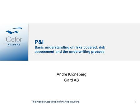 The Nordic Association of Marine Insurers 1 P&I Basic understanding of risks covered, risk assessment and the underwriting process André Kroneberg Gard.