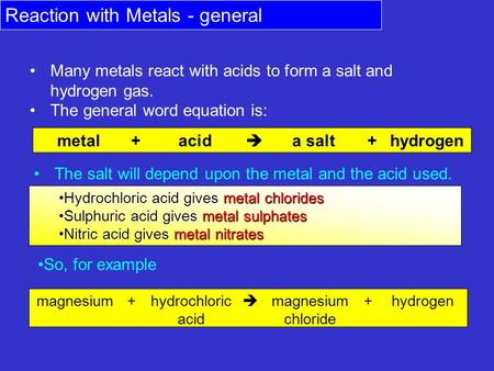 Reaction with Metals - general