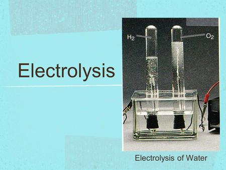 Electrolysis Electrolysis of Water.
