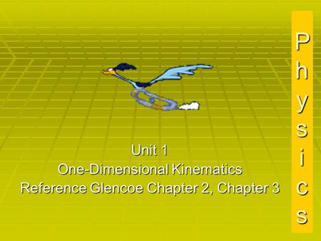 PhysicsPhysicsPhysicsPhysics Unit 1 One-Dimensional Kinematics Reference Glencoe Chapter 2, Chapter 3.