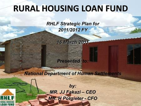 1 Rural Housing Loan Fund Strategic Plan 2005 Ppt Download