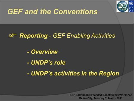 GEF and the Conventions  Reporting - GEF Enabling Activities - Overview - UNDP's role - UNDP's activities in the Region GEF Caribbean Expanded Constituency.
