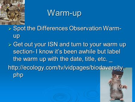 Warm-up  Spot the Differences Observation Warm- up  Get out your ISN and turn to your warm up section- I know it's been awhile but label the warm up.