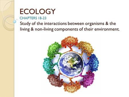 ECOLOGY CHAPTERS 18-23 Study of the interactions between organisms & the living & non-living components of their environment.