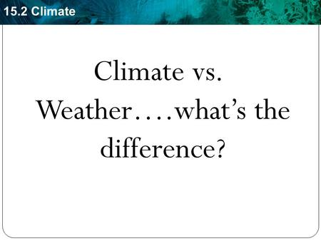 Climate vs. Weather….what's the difference?