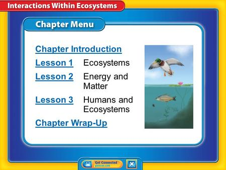Chapter Menu Chapter Introduction Lesson 1Lesson 1Ecosystems Lesson 2Lesson 2Energy and Matter Lesson 3Lesson 3Humans and Ecosystems Chapter Wrap-Up.
