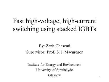 Fast high-voltage, high-current switching using stacked IGBTs
