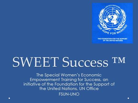 SWEET Success SWEET Success ™ The Special Women's Economic Empowerment Training for Success, an initiative of the Foundation for the Support of the United.