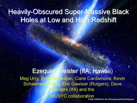 Heavily-Obscured Super-Massive Black Holes at Low and High Redshift Ezequiel Treister (IfA, Hawaii Ezequiel Treister (IfA, Hawaii) Meg Urry, Priya Natarajan,