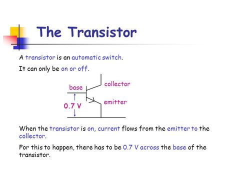 The Transistor A transistor is an automatic switch. It can only be on or off. base emitter collector 0.7 V When the transistor is on, current flows from.