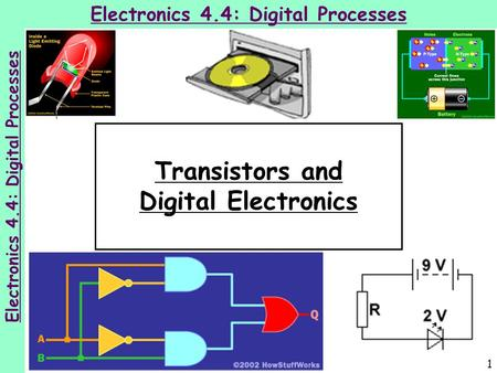 1 Electronics 4.4: Digital Processes Transistors and Digital Electronics Electronics 4.4: Digital Processes.